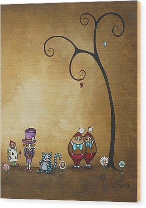Alice In Wonderland Art - Encore - II Wood Print by Charlene Zatloukal