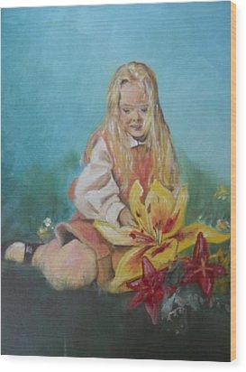 Alice In Wonderland Wood Print by Joyce Reid