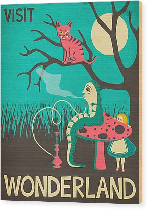Alice In Wonderland Travel Poster - Vintage Version Wood Print by Jazzberry Blue