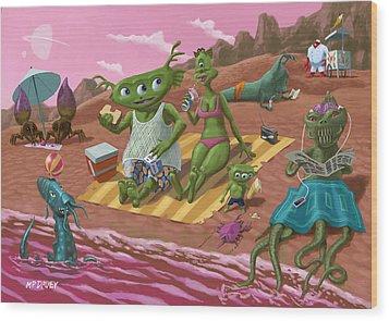 Alien Beach Vacation Wood Print by Martin Davey