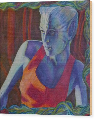 Wood Print featuring the painting Alien Beauty by Suzanne Silvir