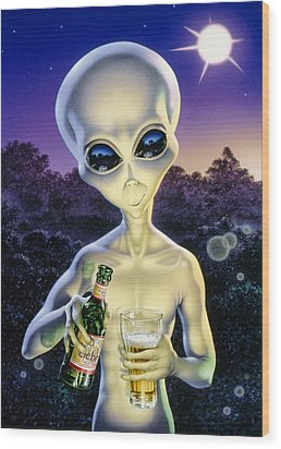 Alien Brew Wood Print by Steve Read