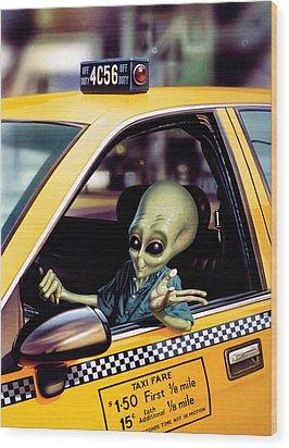 Alien Cab Wood Print by Steve Read