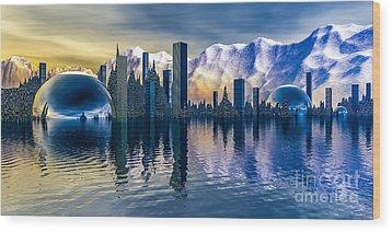 Alien Cityscape  Wood Print by Arlene Sundby