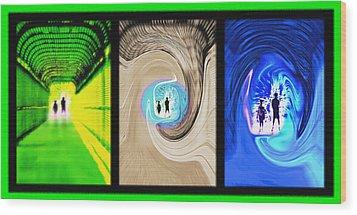 Alien Encounters Triptych Wood Print by Steve Ohlsen