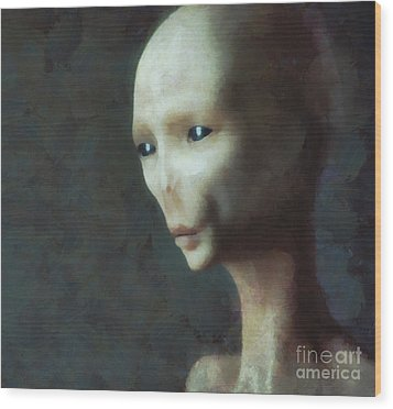 Alien Grey Thoughtful  Wood Print by Pixel Chimp