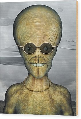 Alien Wood Print by James Larkin