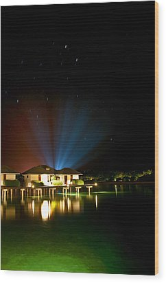 Alien Light At The Tropical Resort Wood Print by Jenny Rainbow