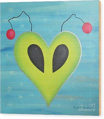 Alien Love Wood Print by Kristi L Randall