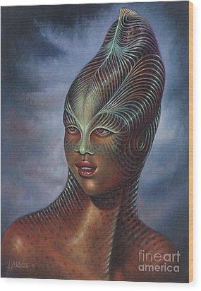Alien Portrait I Wood Print by Ricardo Chavez-Mendez