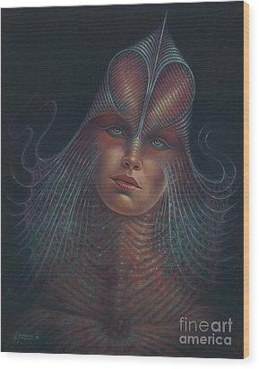 Alien Portrait Il Wood Print by Ricardo Chavez-Mendez