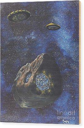 Alien Space Factory Wood Print by Murphy Elliott