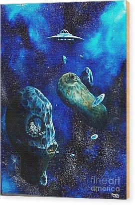 Alien Space Hideout Wood Print by Murphy Elliott