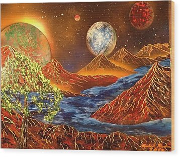 Wood Print featuring the painting Alien Worlds by Michael Rucker