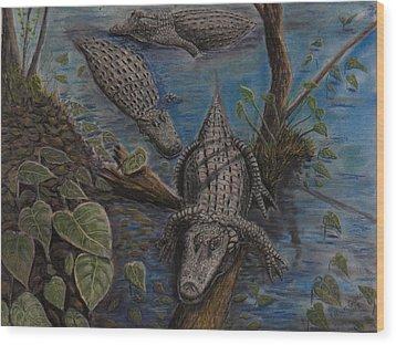 Aligators At Rest Wood Print by Richard Goohs
