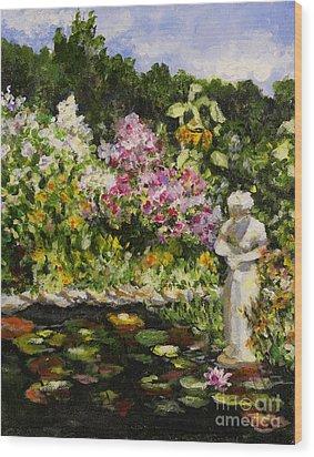 Alisons Water Garden Wood Print