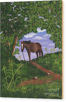 Wood Print featuring the painting All Alone by Laura Forde