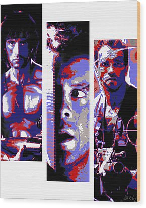All-american 80's Action Movies Wood Print