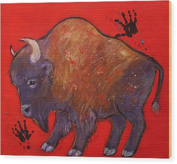 All American Buffalo Wood Print