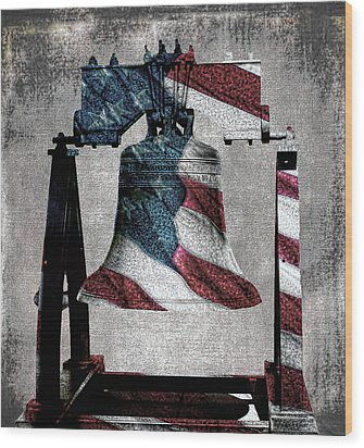 All American Liberty Bell Art_denim Wood Print by Lesa Fine