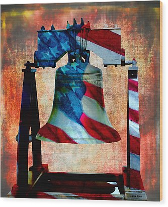 Liberty Bell Art Smooth All American Series Wood Print by Lesa Fine