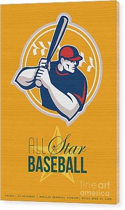 All-american Star Baseball Retro Poster  Wood Print by Aloysius Patrimonio