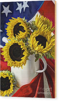 All American Sunflowers Wood Print