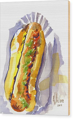 All Beef Ballpark Hot Dog With The Works To Go In Broad Daylight Wood Print