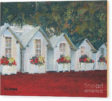 Wood Print featuring the painting All In A Row by Sandy Linden