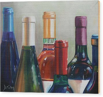 All Lined Up Wood Print by Donna Tuten