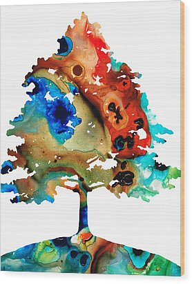 All Seasons Tree By Sharon Cummings Wood Print by Abstract Art