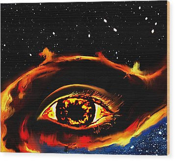 Wood Print featuring the painting All Seeing Eye by Persephone Artworks