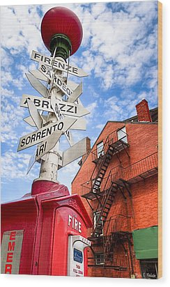 All Signs Point To Little Italy - Boston Wood Print by Mark E Tisdale