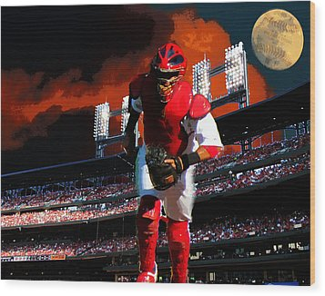 All Star Yadier Molina Wood Print