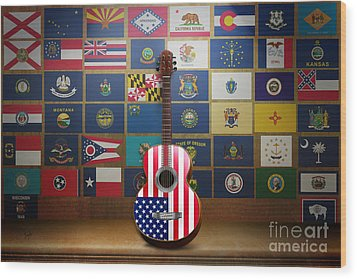 All State Flags Wood Print by Bedros Awak