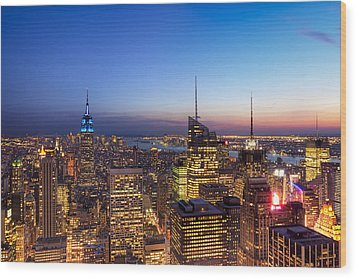 All That Glitters Is Gold - New York City Skyline Wood Print by Mark E Tisdale