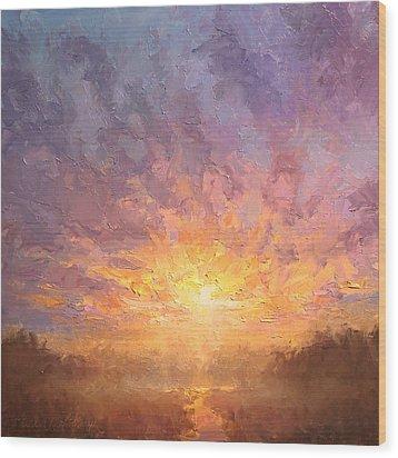Impressionistic Sunrise Landscape Painting Wood Print by Karen Whitworth