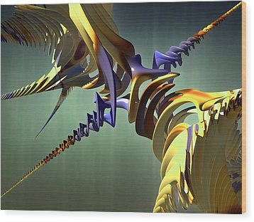 Wood Print featuring the digital art All Twisted Up by Melissa Messick
