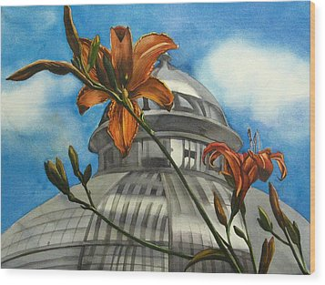 Wood Print featuring the painting Allan Garden With Daylilies by Alfred Ng