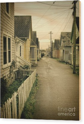 Alley And Abandoned Houses Wood Print by Jill Battaglia