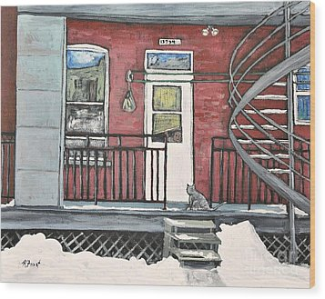 Alley Cat In Verdun Wood Print by Reb Frost