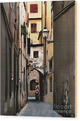 Alley In Florence 1 Wood Print by Jennie Breeze