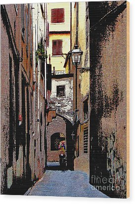 Wood Print featuring the digital art Alley In Florence 2 Digitized by Jennie Breeze