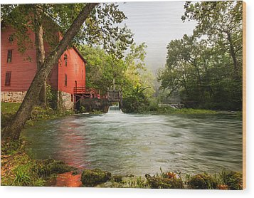 Alley Spring Grist Mill Waterfall And Lake Wood Print by Gregory Ballos