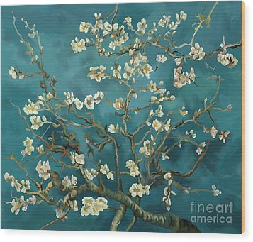 Wood Print featuring the painting Almond Blossoms' Reproduction by Tim Gilliland