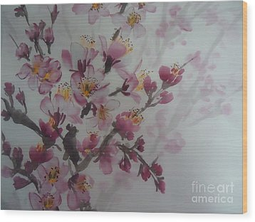 Wood Print featuring the painting Almond Flower by Dongling Sun