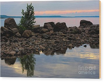 Almost Sunset At Awenda Beach Wood Print
