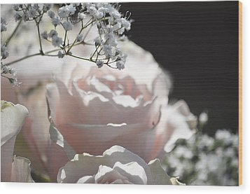 Almost White Roses Wood Print