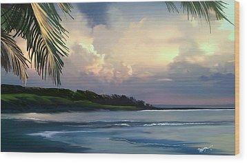 Wood Print featuring the digital art Aloha by Anthony Fishburne