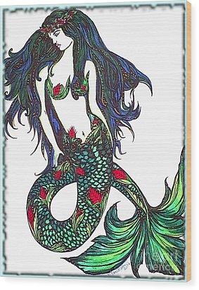 Aloha Mermaid Wood Print by Valarie Pacheco